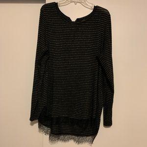 LC Lauren Conrad Hi-Low Sweater Bow Neck XXL
